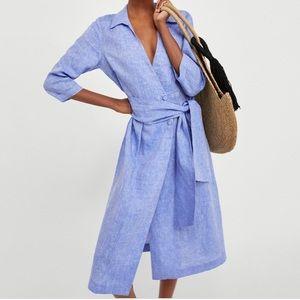 Zara Chambray Linen Side Button Belted Midi Dress
